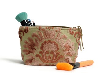 Cut Velvet Makeup Bag - Pink Cosmetic Pouch Handmade by EllaOsix