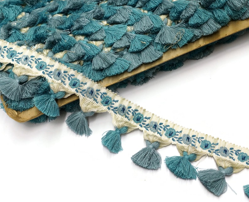Blue Vintage Tassel Trim with a floral decor sold by the meter image 0
