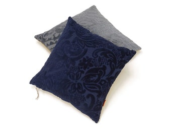Navy Blue Velvet Pillow Cover 45x45 - 18x18 -  one of a kind unique piece by EllaOsix