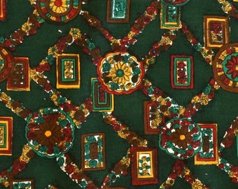 Dark Green Vintage Corduroy Fabric - Floral Decor - Cotton Fashion Fabric - new old stock condition - sold by the meter