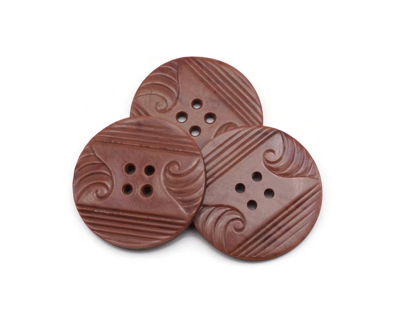 Large Art Deco Buttons  brown 4 hole buttons 34mm  1 image 0
