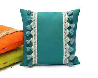Teal Fringe Pillow   Tassel Cushion   70s Throw Pillow Cover Handmade by EllaOsix