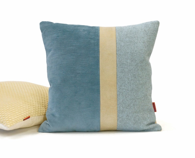 Blue Leather Accent Pillow Handmade from high quality image 0