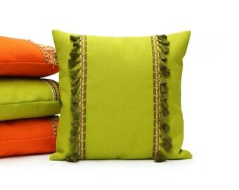 Lime Green Tassel Pillow   Fringe Cushion   70s Throw Pillow Cover Handmade by EllaOsix
