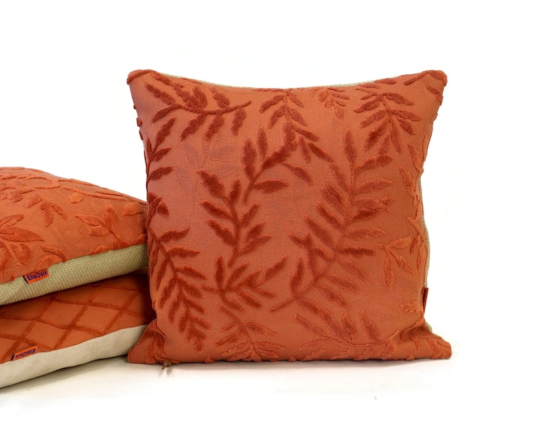 Velvet Dark Salmon Pillow Cover with raised leaves handmade by image 0