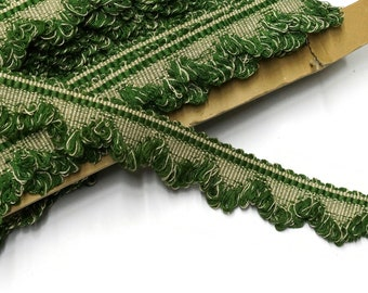 """Green Vintage Scalloped Fringe Trim by the Yard - 35 mm - 1 3/8"""""""