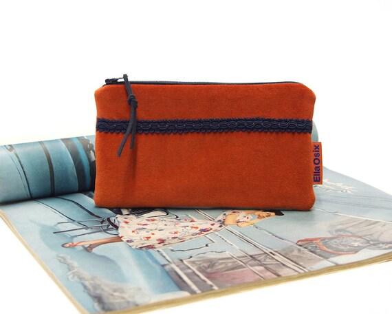 Orange Velvet Zipper Pouch  abf133131b25a