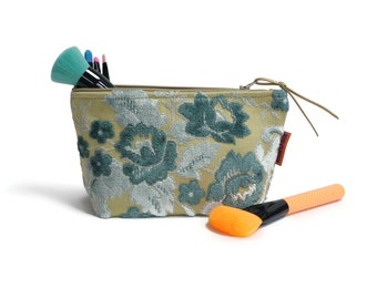 Velvet Cosmetic bag - Blue Floral Makeup Bag Handmade by EllaOsix