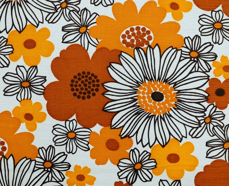 Floral Vintage Fabric  Mid Century Home Decor Fabric in new image 0