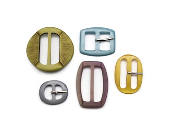 5 Belt Buckles and Slides in different colors and sizes