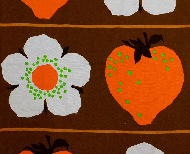 Original Mid Century Home Decor Fabric with Strawberries and image 0