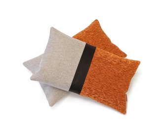 """Modern Colorblock Pillow Cover with a leather accent by EllaOsix 12x20"""" - 30x50 cm"""