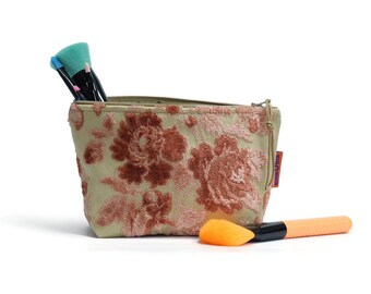 Velvet Cosmetic Bag - Pink Floral Makeup Pouch Handmade by EllaOsix