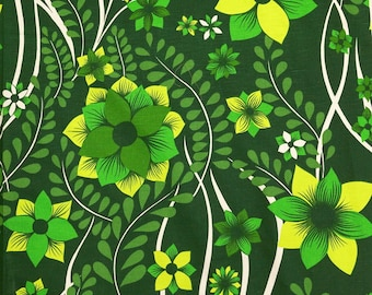 1970s Vintage Fabric- green floral decor - unused deadstock condition - sold by the meter