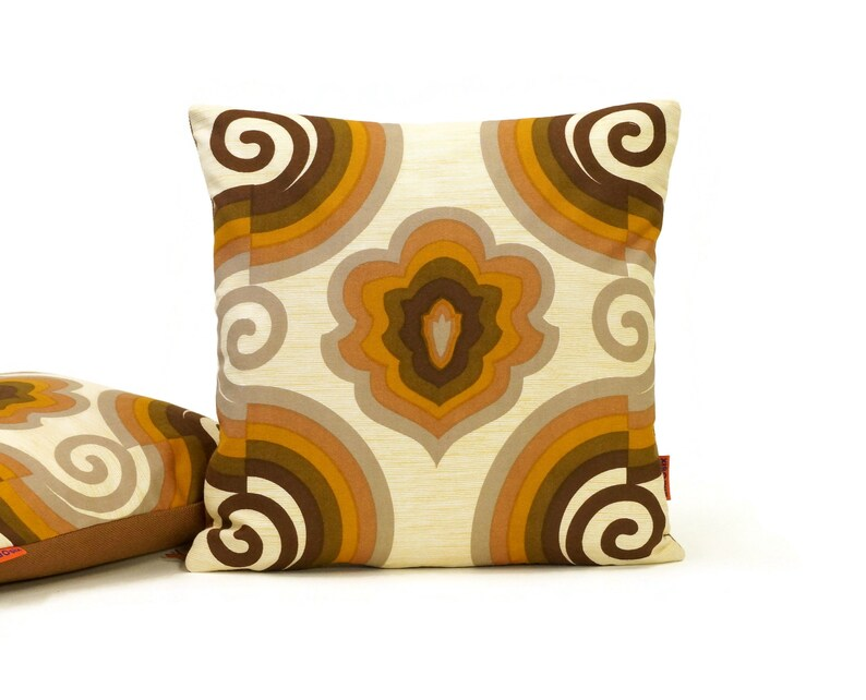 Brown Mid Century Pillow Cover Handmade from original vintage image 0