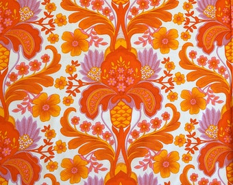 70s Orange Vintage Fabric -  Unused Deadstock Condition - Sold by the Meter