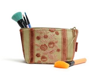 Cut Velvet Cosmetic Bag - Pink Floral Makeup Pouch Handmade by EllaOsix