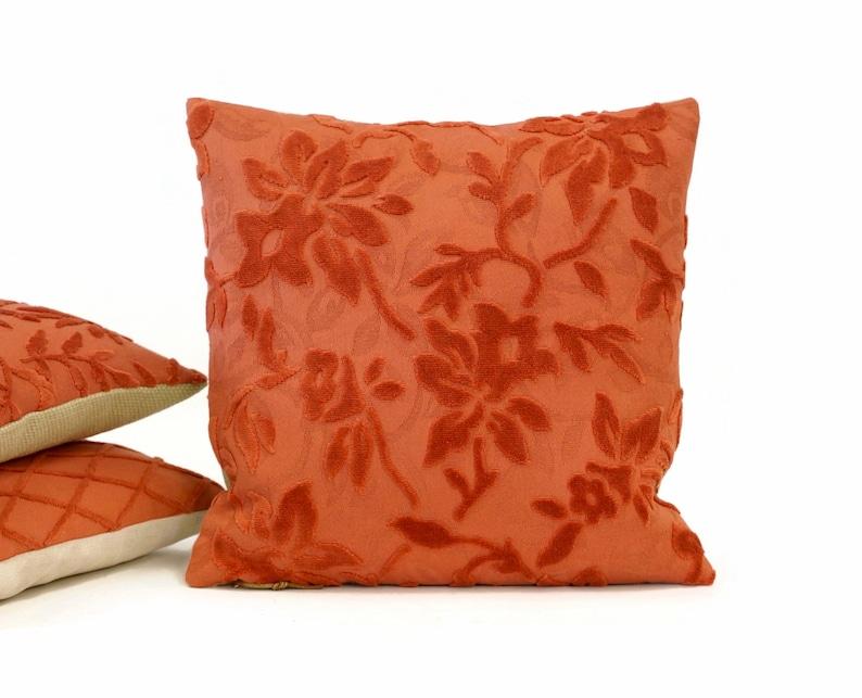 Velvet Pillow Cover in Dark Salmon with raised flowers image 0
