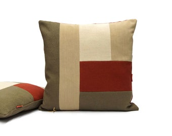 Modern Patchwork Cushion   Geometric Color Block Pillow Handmade from Vintage Upholstery Fabrics by EllaOsix