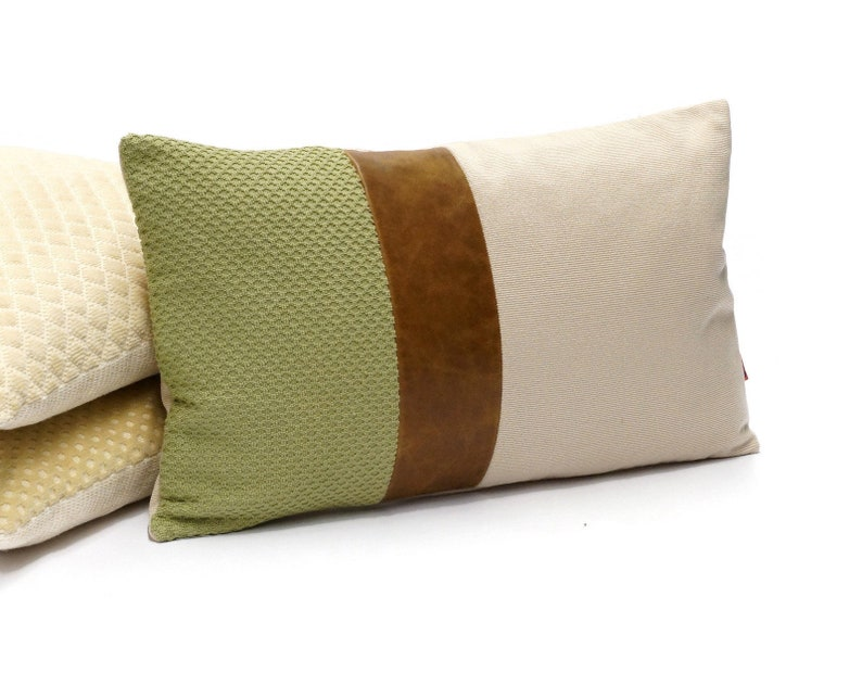 Leather Accent Lumbar Pillow Cover  Color Block Couch Pillow image 0