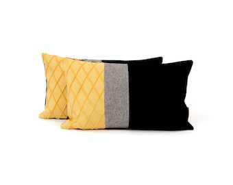 Color Block Pillow   Yellow and Black Accent Pillow   Modern Homedecor Handmade by EllaOsix
