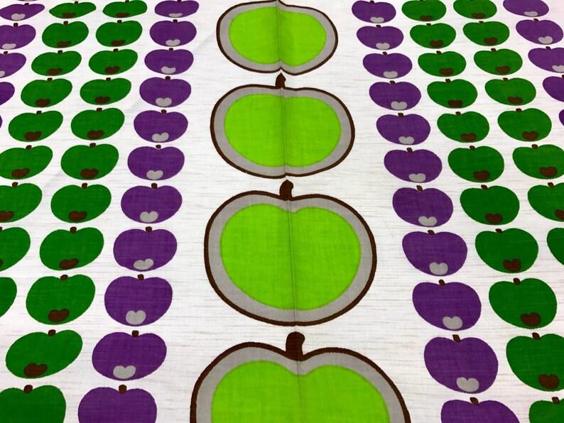 Purple Apple 70s fabric Green Apple Unused Vintage Cotton Fabric by the Yard pillowcase fabric