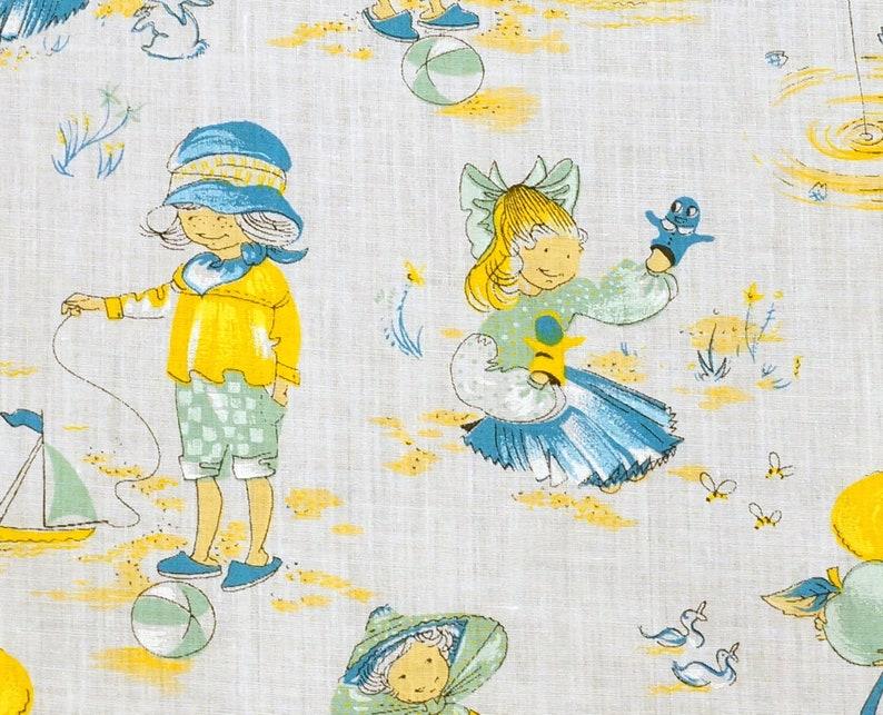 Vintage Children's Fabric  60s kids decor  90 x 160 cm  image 0