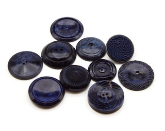 Lot of 10 Large Blue Vintage Buttons in different sizes and designs