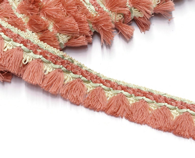 Pink Vintage Tassel Trim by the yard  Passementerie Fringe image 0