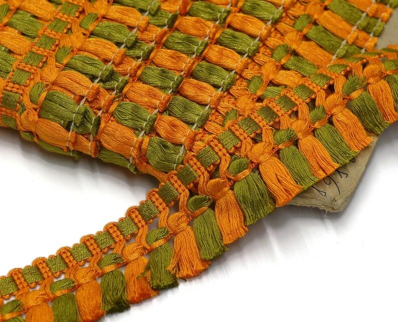 Vintage Tassel Trim in Orange and Green by the Meter / Yard image 0
