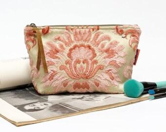 Pink Accessory Bag,  Velvet Makeup Bag, large cosmetic bag, vintage fabric pouch, tapestry bag, cut velvet bag Handmade by EllaOsix