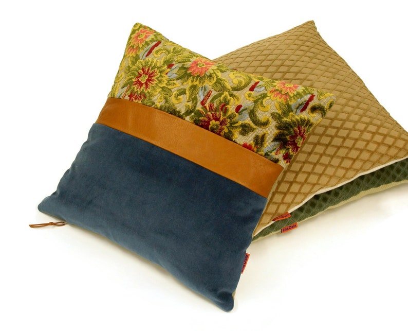 Floral Decor Blue Velvet Pillow Cover with a Leather Accent by image 0