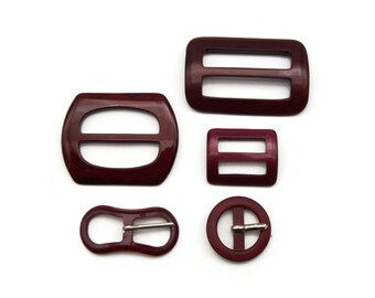Lot Belt and Sash Buckles in Burgundy Red
