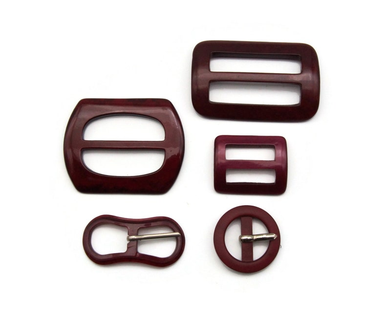 Lot Belt and Sash Buckles in Burgundy Red image 0