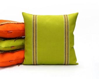 Lime Green Trim Pillow    Retro Cushion   70s Throw Pillow Cover Handmade by EllaOsix