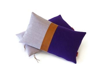 "Purple Color Block Pillow - Leather Accent Cushion Cover by  EllaOsix - 12x20"" - 30x50cm"