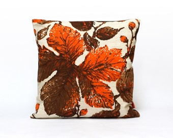 Modern Retro Cushion Cover | Throw Pillow | Orange Pillow Case | Botanical Pillow, Designer Pillow, Handmade Modern Home decor by EllaOsix