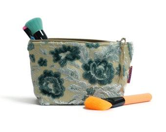 Velvet Makeup Bag - Blue Floral Cosmetic Pouch Handmade by EllaOsix
