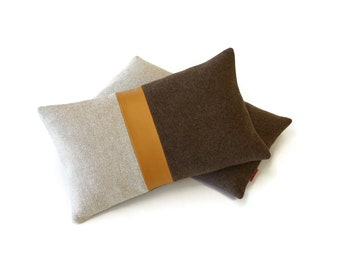 """Color Block Pillow Cover - Leather Accent - Beige Brown by  EllaOsix - 12x20"""" - 30x50cm"""