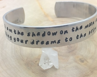 Nightmare Before Christmas quote, hand stamped cuff bracelet in sterling, aluminum, brass or copper