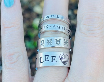 Personalized Stacking Rings / sterling silver / stackable ring / custom name ring / stackers / custom / hand stamped ring