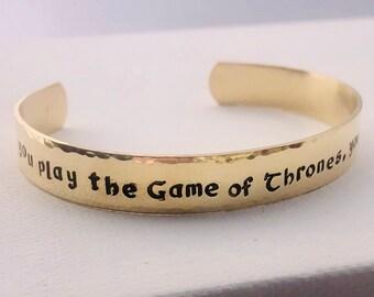 Game of Thrones inspired hand stamped cuff bracelet/ GoT jewelry / Custom cuff bracelet / Silver cuff / Brass cuff / Copper cuff / TV show