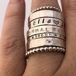 Personalized Stacking Rings / sterling silver / stackable ring / custom name ring / stackers / hammered ring / bead ring / hand stamped ring