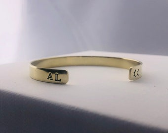 Initials bracelet / couples jewelry / personalized cuff bracelet / hand stamped cuff bracelet / brass cuff / goldtone cuff / initials