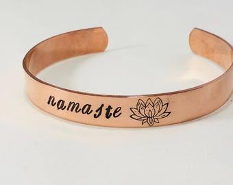 Namaste / hand stamped cuff bracelet / aluminum, brass, copper or sterling silver / lotus flower / yoga / custom bracelet