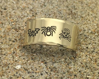 Bats Spiders and Skulls Oh My! / Hand stamped ring / Brass or Aluminum / Halloween / Creatures / Adjustable ring / Halloween ring