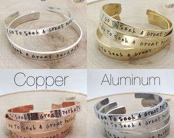 Custom personalized cuff bracelet / hand stamped cuff bracelet / aluminum, brass, copper or sterling silver / quote / lyrics / names / dates