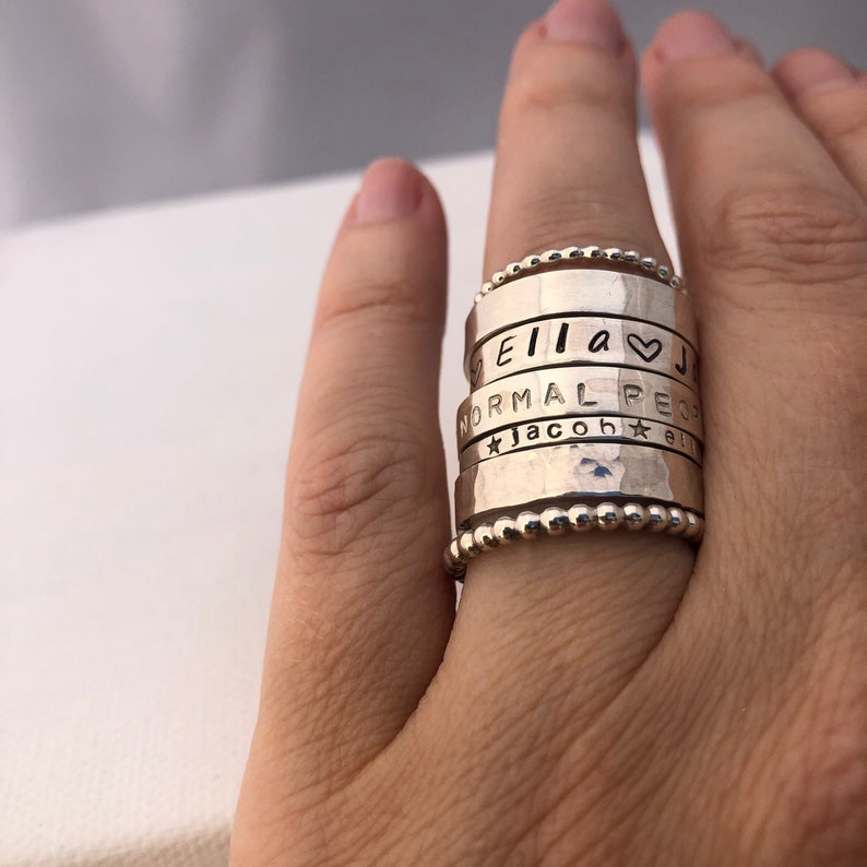 Personalized Stacking Rings / sterling silver / stackable ring image 0