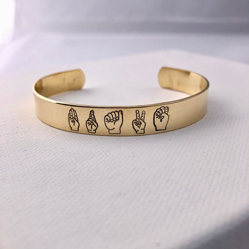 Brave / ASL / American Sign Language / hand stamped cuff image 0