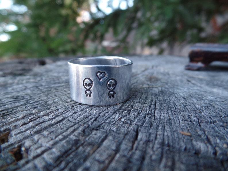 Alien Love  hand stamped aluminum adjustable ring image 0